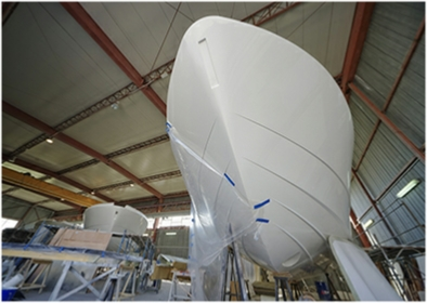 Boat being manufactured
